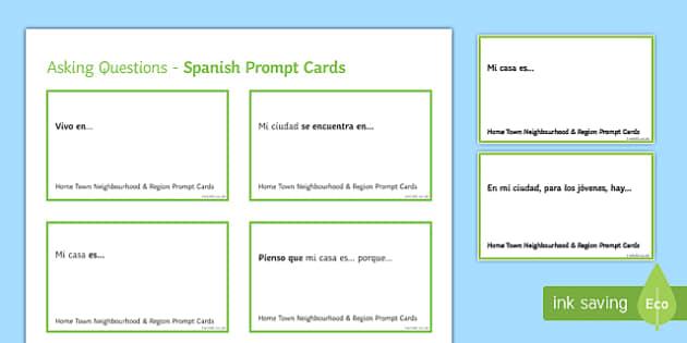 General Conversation Home Town Neighbourhood & Region Question Prompt Cards