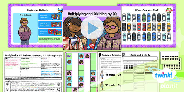 Planit Y1 Multiplication and Division Lesson Pack Multiplying and Dividing by Ten - same size groups, division by grouping, groups of ten, groups from a given total, multiplying by ten, ten times table, 10 x table, planning