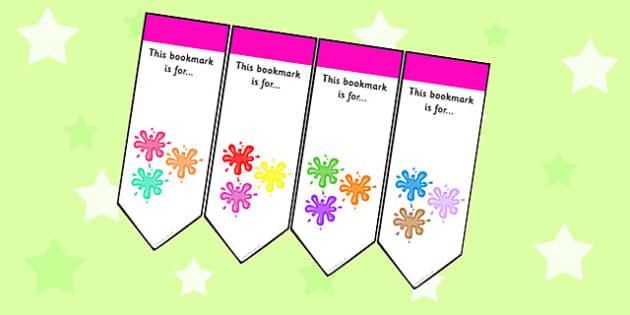 Splat Themed Bookmarks - splat, bookmarks, books, reading, award