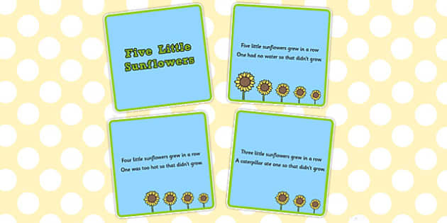 Five Little Sunflowers Counting Song Sequencing Cards - counting, song