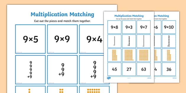 9 Times Table Multiplication Matching Puzzle - times table, multiplication, matching, puzzle, match, maths, numeracy, 9