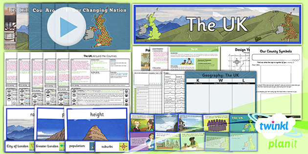 PlanIt - Geography Year 3 - The UK Unit Pack - geography, UK, county, counties, rivers, mountains, London