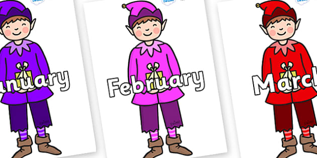 Months of the Year on Boy Elves (Multicolour) - Months of the Year, Months poster, Months display, display, poster, frieze, Months, month, January, February, March, April, May, June, July, August, September