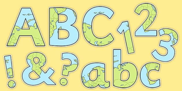 What a Wonderful World Themed Display Lettering Numbers and Symbols