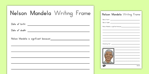 Nelson Mandela Significant Individual Writing Frame - usa, writing