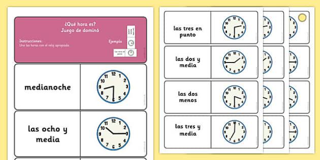 Juego de dominó de leer la hora - dominó, hora, tiempo, lectura de la hora, leer la hora, juego