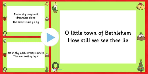 O Little Town Of Bethlehem Christmas Carol Lyrics PowerPoint - o little town of bethlehem, christmas, christmas carol, lyrics powerpoint, christmas songs