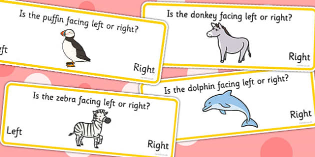 Right And Left Animal Worksheets - visual aid, class management