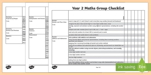 2014 Curriculum Year 2 Maths Assessment Group Checklist - numeracy