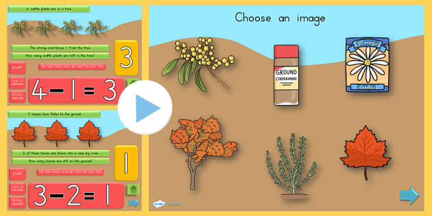 Autumn Themed Subtraction PowerPoint - subtract, seasons, weather
