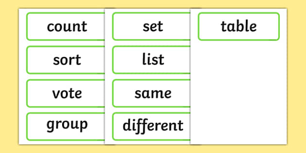 Maths Organising and Using Data Word Cards - maths organising data, maths using data, word cards, maths data word cards, maths word cards