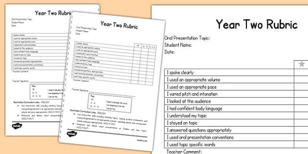 Oral Presentation Rubric Year Two - australia, oral, presentation, rubric, year two