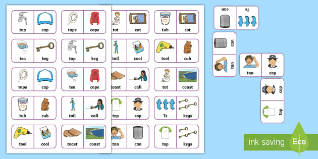 'k' and 't' Minimal Pair Dominoes - fronting, backing, minimal pairs, speech sounds, phonology, articulation, dyspraxia, apraxia