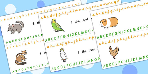 Alphabet Strips (Pets) - Alphabet, Learning letters, Writing aid, Writing Area, cat, dog, rabbit, mouse, guinea pig, rat, hamster, gerbil, horse, puppy, kitten, snake, chinchilla, snail, lizard, budgie