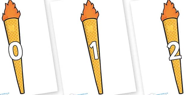 Numbers 0-50 on Olympic Torches - 0-50, foundation stage numeracy, Number recognition, Number flashcards, counting, number frieze, Display numbers, number posters