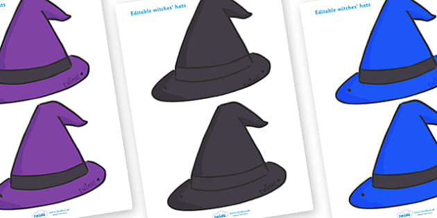 Editable Witches Hats - Witches hat, hat, editable, display hat, A4, witch, broom, black cat