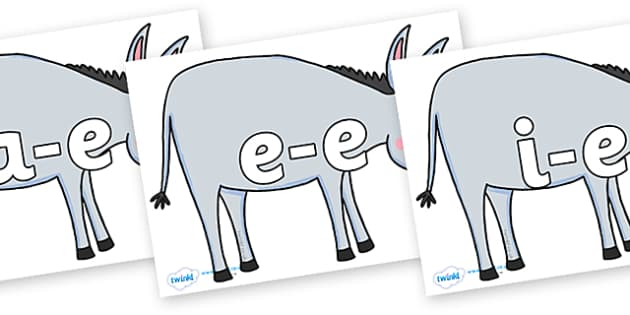 Modifying E Letters on Hullabaloo Donkey to Support Teaching on Farmyard Hullabaloo - Modifying E, letters, modify, Phase 5, Phase five, alternative spellings for phonemes, DfES letters and Sounds
