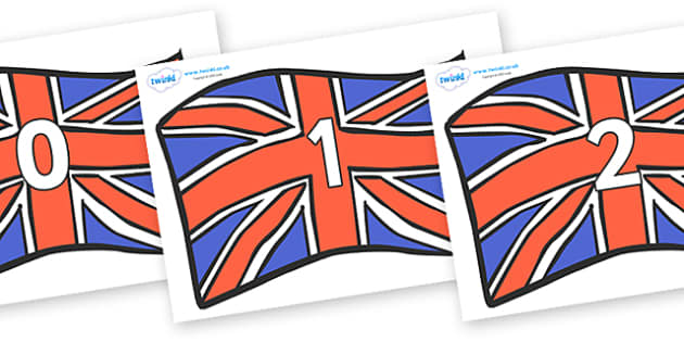 Numbers 0-100 on Union Jacks - 0-100, foundation stage numeracy, Number recognition, Number flashcards, counting, number frieze, Display numbers, number posters