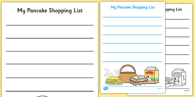 Pancake Shopping List Templates - EYFS, Early Years, Writing Area, Pancake Day, Shrove Tuesday, Mr Wolf's Pancakes, Jan Fearnley