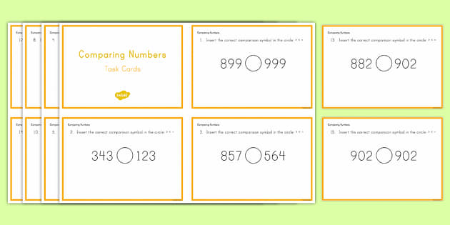 Second Grade Comparing Numbers Task Cards - Common Core Second Grade Math Task Cards, comparing numbers, more than, less than, equal to, three-d
