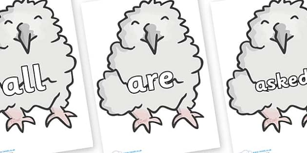 Tricky Words on Baby Owls - Tricky words, DfES Letters and Sounds, Letters and sounds, display, words