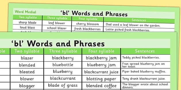 BL Word List - bl, word list, word, list, sounds, sen, special education