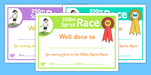 Sports Day 200m Sprint Certificates - sports day, certificates