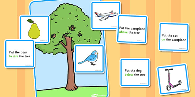 Preposition Tree Game - SEN, visual aid, position, game, SEN game, prepositions