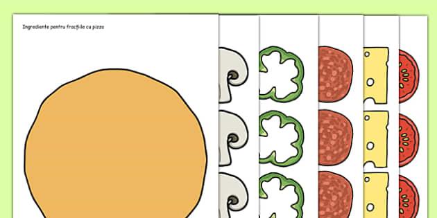 Ingrediente pentru fractii cu pizza - joc, matematica, zecimale
