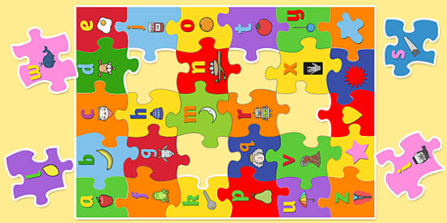 Large Alphabet Jigsaw with Images - alphabet, jigsaw, images