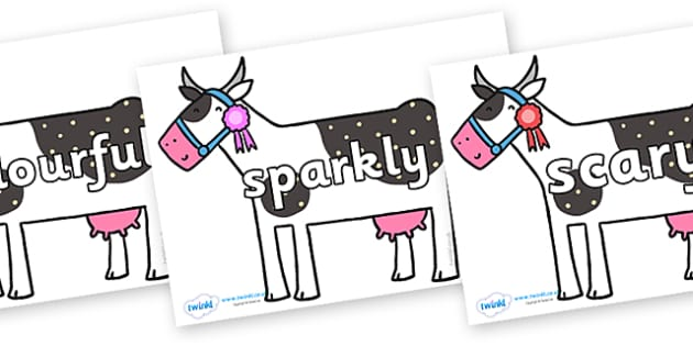 Wow Words on Cow to Support Teaching on What the Ladybird Heard - Wow words, adjectives, VCOP, describing, Wow, display, poster, wow display, tasty, scary, ugly, beautiful, colourful sharp, bouncy