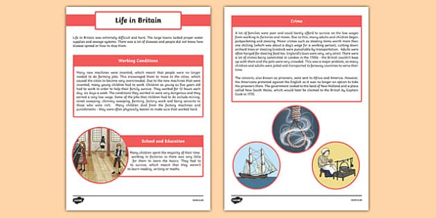 The First Fleet Life in Britain Information Sheet - australia, The First Fleet, 18th century, life in england, crime, working, conditions, punishment, life, britain