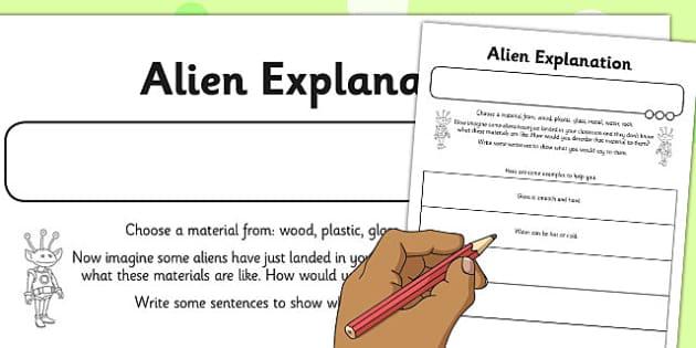 Alien Explanation Activity Sheet - alien, explanation, activity, sheet, worksheet