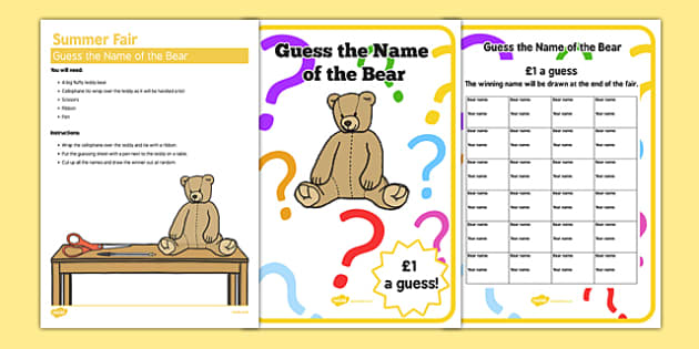 Elderly Care Summer Fair Guess the Name of the Bear - Elderly, Reminiscence, Care Homes, Summer Fair