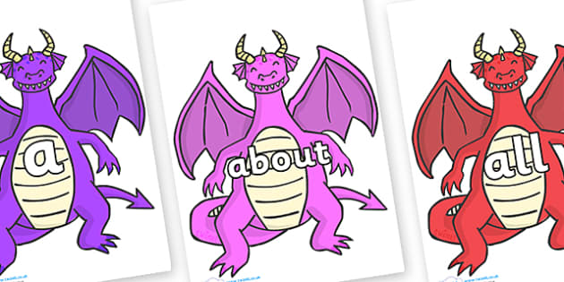 100 High Frequency Words on Dragons (2) - High frequency words, hfw, DfES Letters and Sounds, Letters and Sounds, display words
