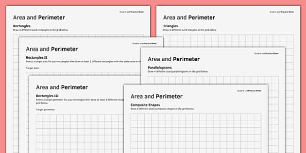 KS3_KS4 Maths Student Led Practice Sheets Area and Perimeter - maths, KS3, KS4, GCSE, worksheet, practise, independent, growth mindset, measure, area, perimeter, rectangle, triangle, parallelogram