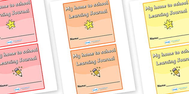 Size Editable Label My Home To School Learning Journal (2 per page) - learning journal, home to school, editable, journal, homework, work, school work, personal, 2 per page, page