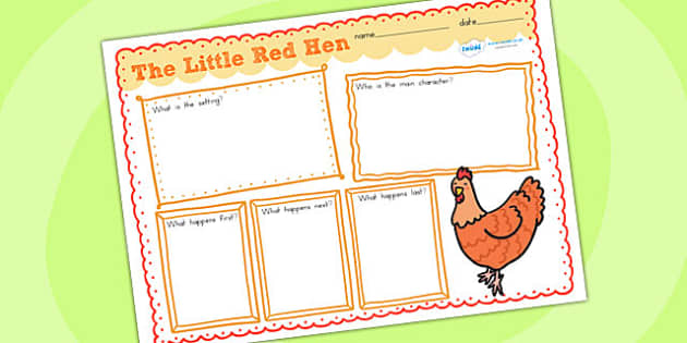 Little Red Hen Story Review Writing Frames - story review, story
