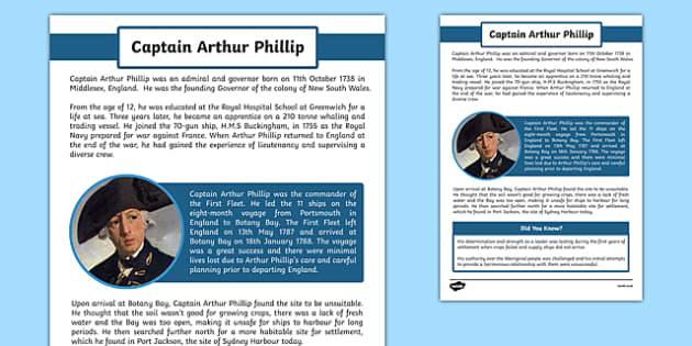 The First Fleet Captain Arthur Phillip Information Sheet - australia, The First Fleet, Captain Arthur Phillip, voyage, information sheet, information, Sydney Cove, Botany Bay, Port Jacson.