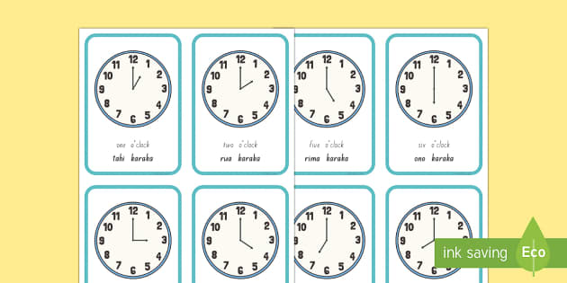 The hour clock Flashcards - karaka, matawa, clock, hour, time, wā