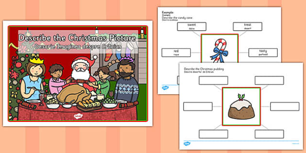 Describe the Picture Christmas Writing Frame Romanian Translation - early years, ks1, key stage 1, festive, colouring, speaking and listening, writing, activity,