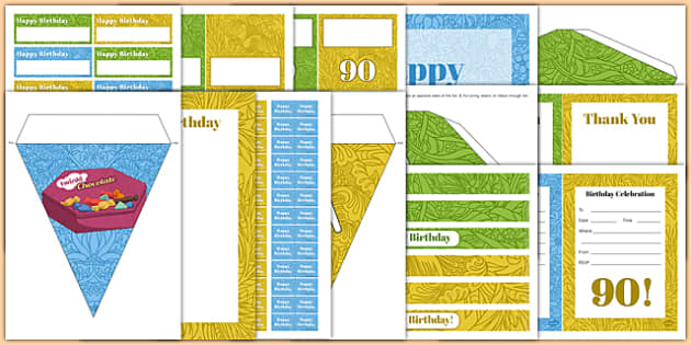 90th Birthday Party Pack - 90th birthday party, 90th birthday, birthday party, pack