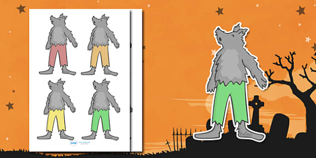 Editable Halloween Werewolf (Small) - Editable Halloween Werewolf, werewolf, small, display, poster, Halloween, pumpkin, witch, bat, scary, black cat, mummy, grave stone, cauldron, broomstick, haunted house, potion, Hallowe'en
