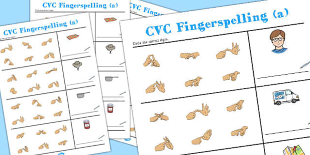 CVC Spelling Worksheets with British Sign Language 'a' - cvc