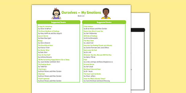 All About Me and Ourselves: My Emotions Book List
