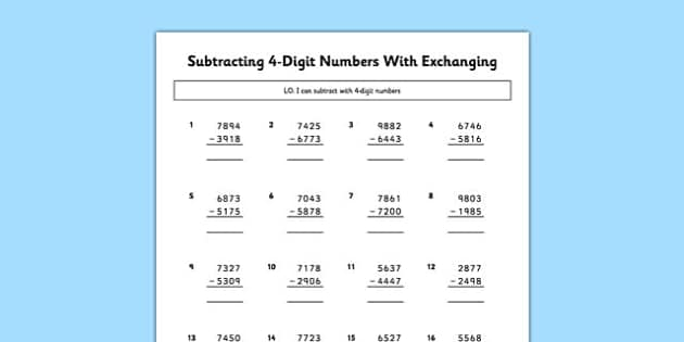 Subtracting 4 Digit Numbers with Exchanging - subtracting, 4 digit, numbers, exchanging