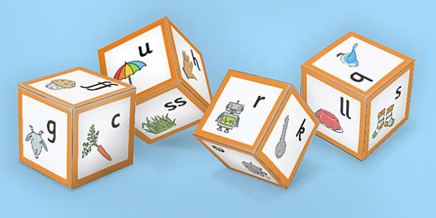 Phase 2 Phoneme Sounds with Images Dice Nets - game, activity, games