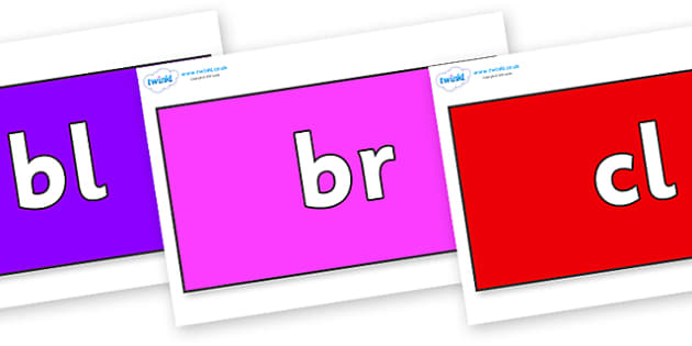 Initial Letter Blends on Rectangles - Initial Letters, initial letter, letter blend, letter blends, consonant, consonants, digraph, trigraph, literacy, alphabet, letters, foundation stage literacy