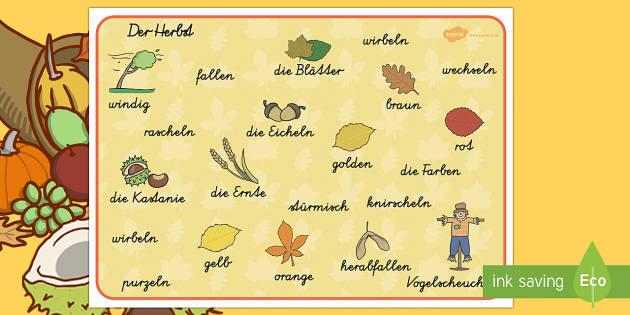 Herbst Wortschatz: Querformat