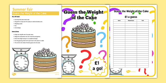 Elderly Care Summer Fair Guess the Cake Weight - Elderly, Reminiscence, Care Homes, Summer Fair